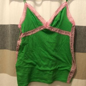 VS PINK Green and Pink Cami XS